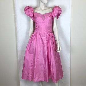 Vintage 80s pink party prom princess dress XS
